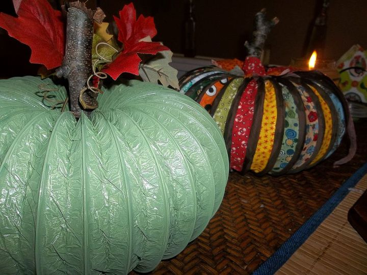 pumpkin made from dryer vent hose and fabric tutorial, crafts, repurposing upcycling, seasonal holiday decor