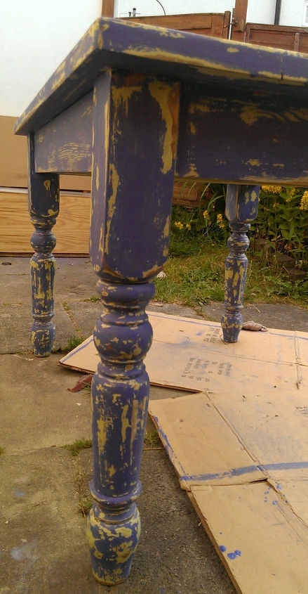 blue homemade milk paint over lime green homemade chalk paint= chippy distressed old patina...