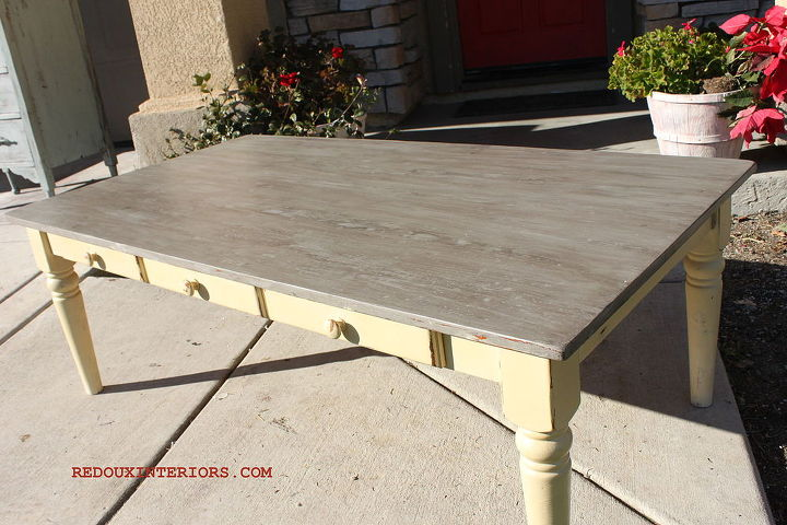 coffee table makeover with a weathered wood finish, painted furniture, Free to me Cofee Table gets a major makeover with Cece Caldwells paints and glazes
