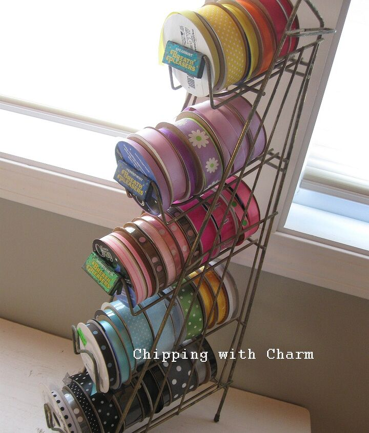 eye candy repurposing a vintage candy display as pretty ribbon storage, cleaning tips, repurposing upcycling