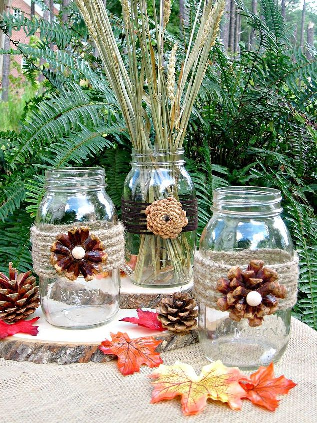These pine cone flower vases would be perfect for your fall decor and then onto Thanksgiving.