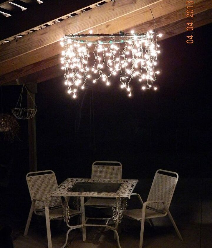 A Hula Hoop Chandelier brightens our patio!