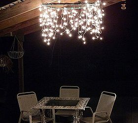 Outdoor Lighting, Lighting, Outdoor Living, A Hula Hoop Chandelier  Brightens Our Patio