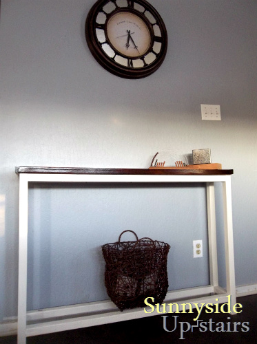 hand built herringbone console table, diy, foyer, painted furniture, Our entryway console as of March 2013