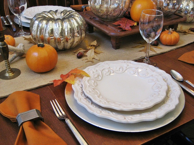 Thanksgiving Tablescape...Mercury Glass Pumpkins and Vintage Wood ...