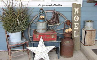 a junky rustic winter christmas front porch, christmas decorations, outdoor living, patio, porches, seasonal holiday decor, Many of these items were in my flower gardens all summer With the addition of the red crate ice skates the sign and greenery the vignette is suitable for Christmas