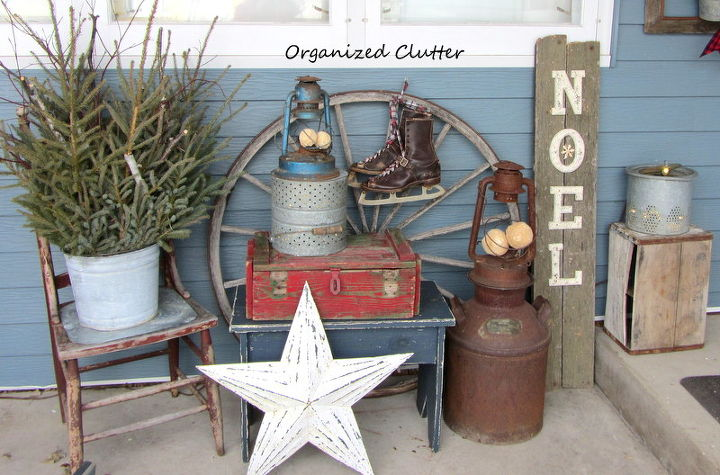 Many of these items were in my flower gardens all summer.  With the addition of the red crate, ice skates, the sign and greenery, the vignette is suitable for Christmas.