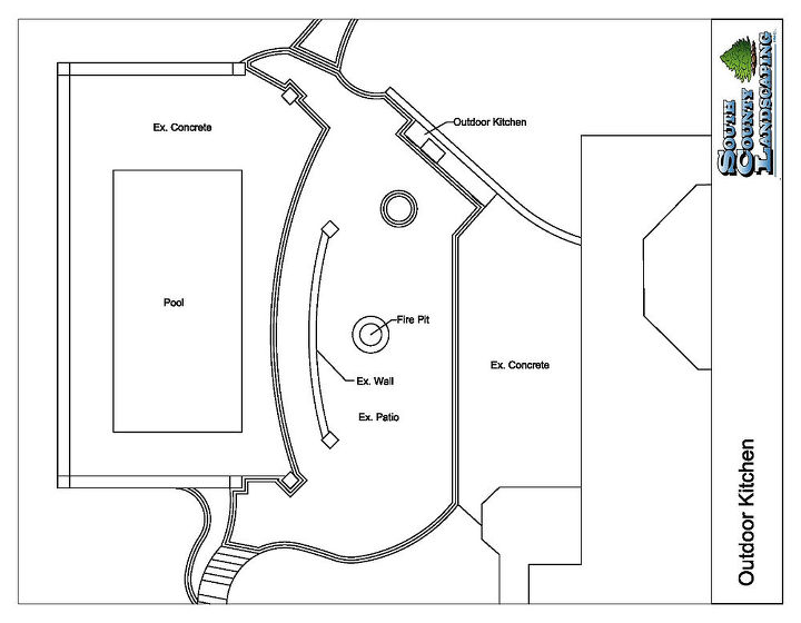 cedar lake outdoor kitchen, kitchen design, outdoor living, patio, Drawing of proposed project