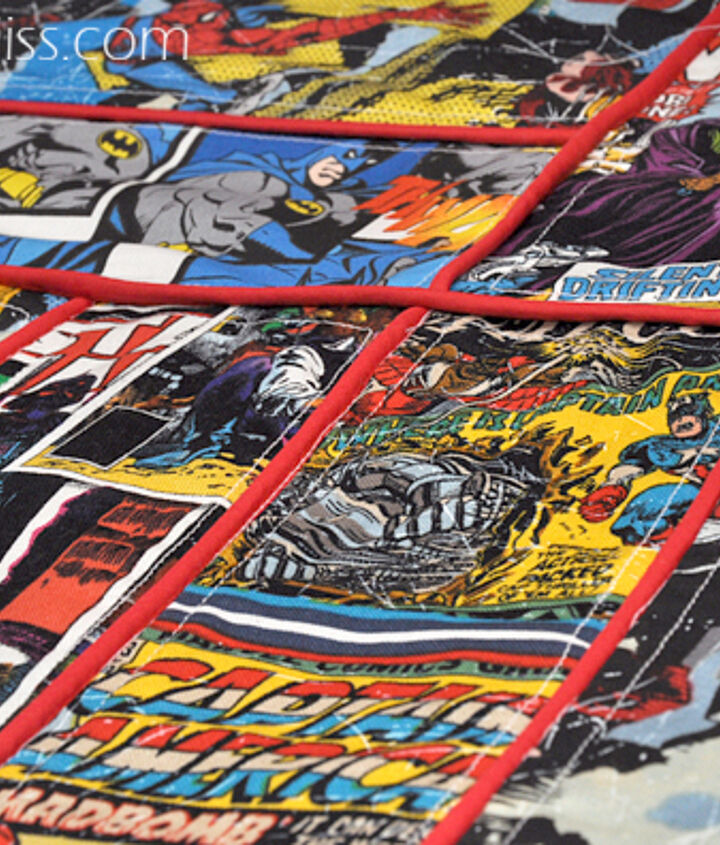 In between each piece I sewed piping along the edges to create that comic book affect.