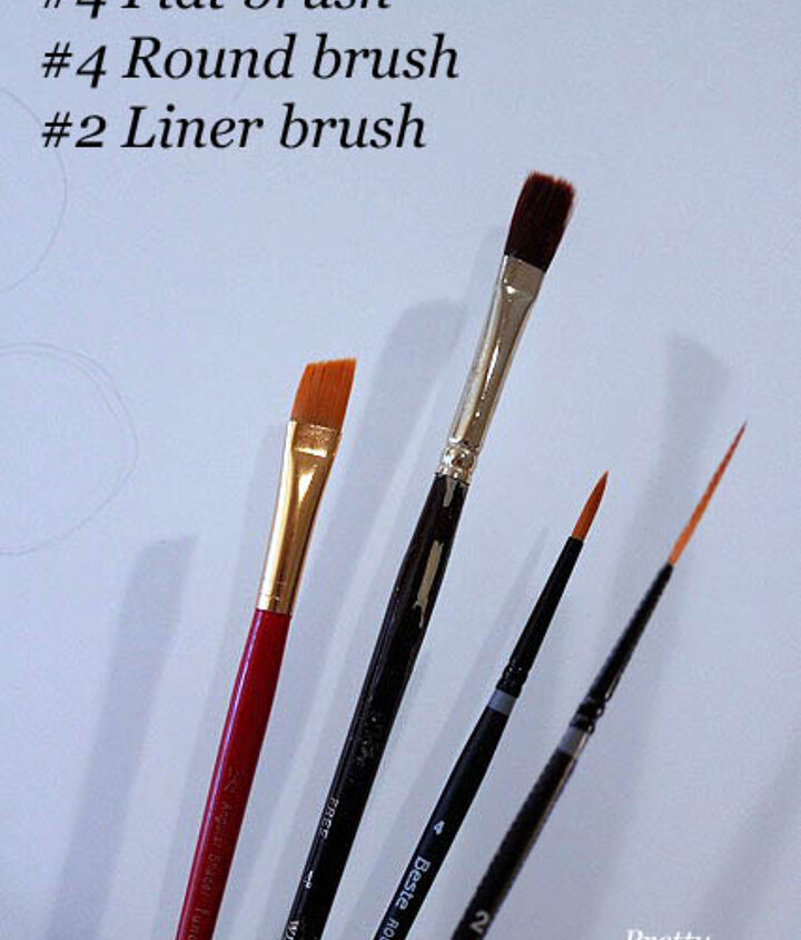 You will need a few different paint brushes. These are the ones I used: