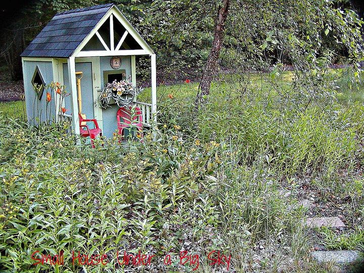 summer in the white oak playhouse shed, outdoor living, The summer shed in the meadow garden