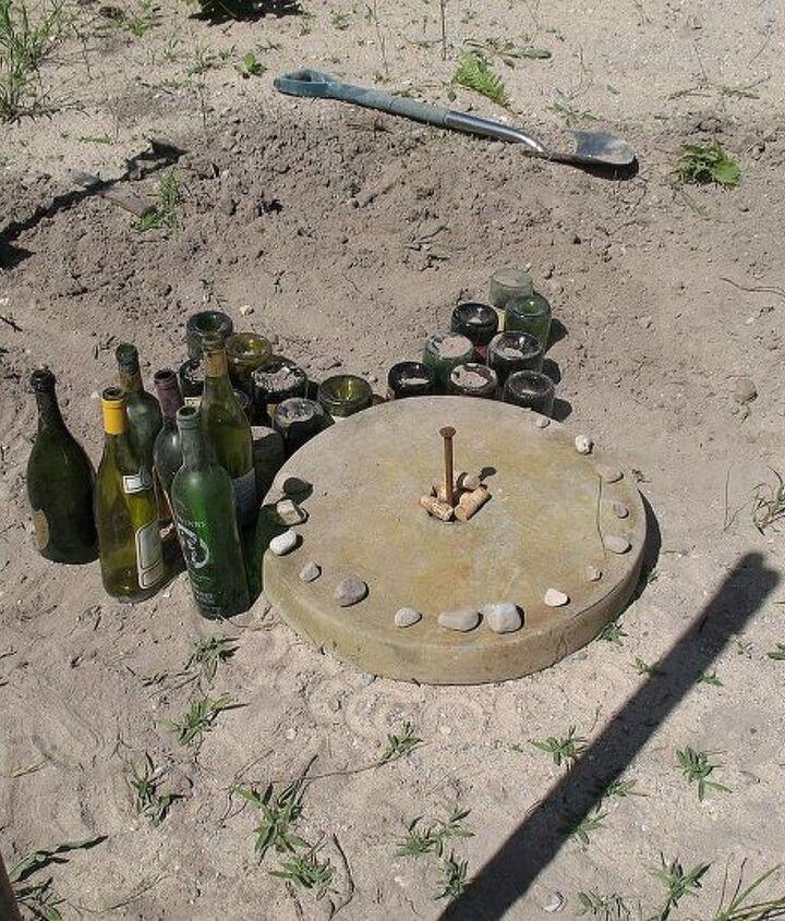 how to bury bottles to create yard art, gardening, outdoor living