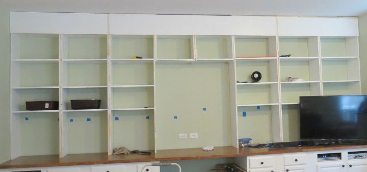 diy built in bookcases, diy, shelving ideas, woodworking projects, We added the fascia top piece