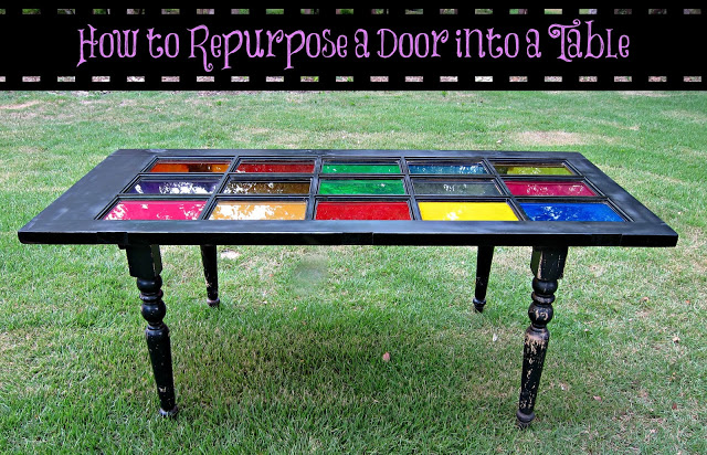 All the materials were repurposed.  The door came from Habitat Home Store and the legs were salvaged from a damaged table that was on the curb for trash pick up.