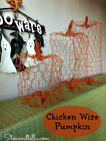How to make a chicken wire pumpkin.