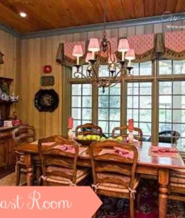 The breakfast room is paneled in Cyprus paneling which was then painted in a watered down green wash.  The ceiling is paneled in stained pine.