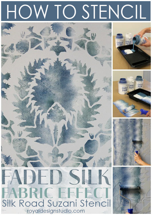 Fast and easy stencil finish rolling Chalk Paint® through a Royal Design Studio Suzani stencil. http://www.royaldesignstudio.com/blogs/how-to-stencil/7855395-stencil-how-to-faded-silk-suzani-fabric-finish
