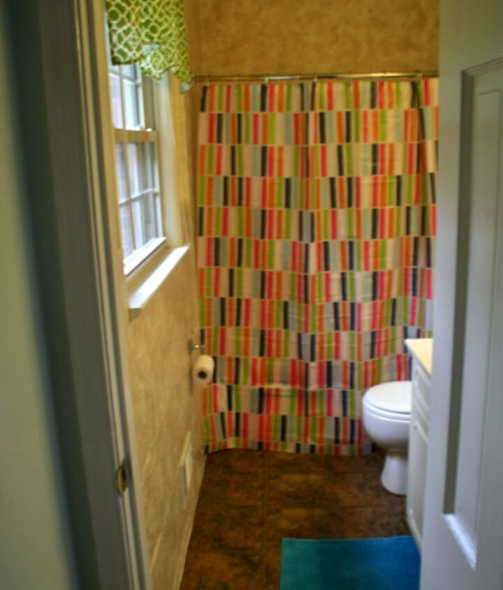 A look into the bathroom with its pretty updated colors!