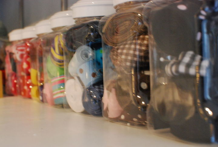 I like organization that is also pretty. My ribbon is on display in clear plastic canisters.