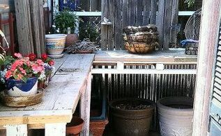 potting table from 100 reclaimed items, gardening, painted furniture, pallet, repurposing upcycling, My new potting bench corner