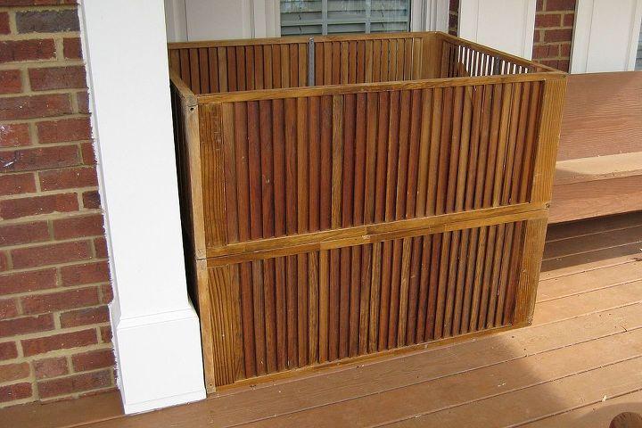 outdoor storage created from discarded wooden slatted doors, outdoor living, repurposing upcycling, Storage box made from discarded motel closet doors