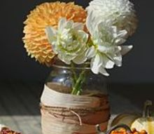 fall arrangement corn husk wrapped mason jar vase, crafts, flowers, gardening, mason jars, seasonal holiday decor, thanksgiving decorations