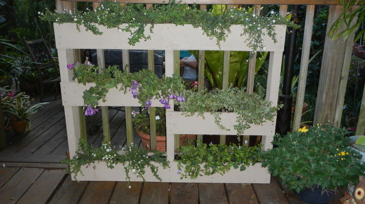 another great way to recycle pallets by turning them into a planter, gardening, pallet projects, Stand Up Pallet Planter