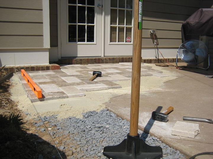 natural stone paver patio makeover, concrete masonry, decks, diy, how to, outdoor living, patio, Building up a leveled area next to the original patio slab