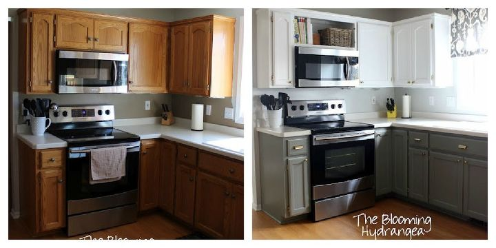 From Oak To Awesome Painted Gray And White Kitchen