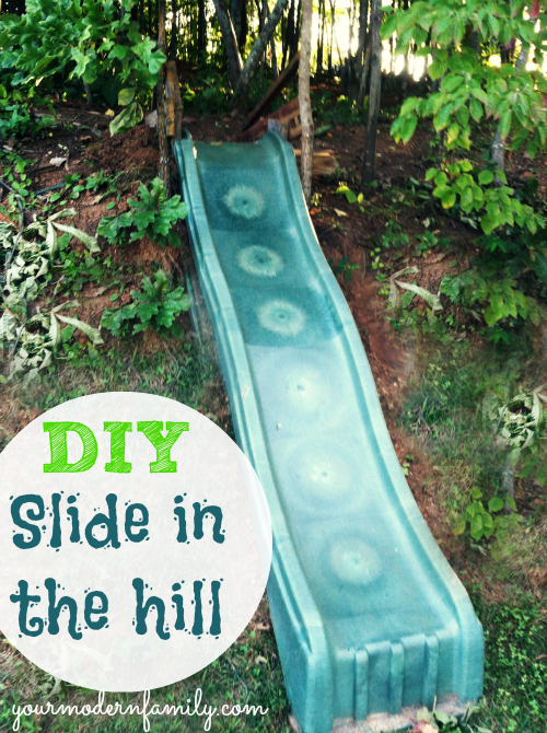 diy make a slide in the hill side or yard easy fun for the kids, diy, outdoor living, repurposing upcycling, woodworking projects, We made this slide with scrap wood the cost of a used slide 25 bought on Craigslist Follow these steps to make your own If you have a hillside in the back yard this is perfect yourmodernfamily com