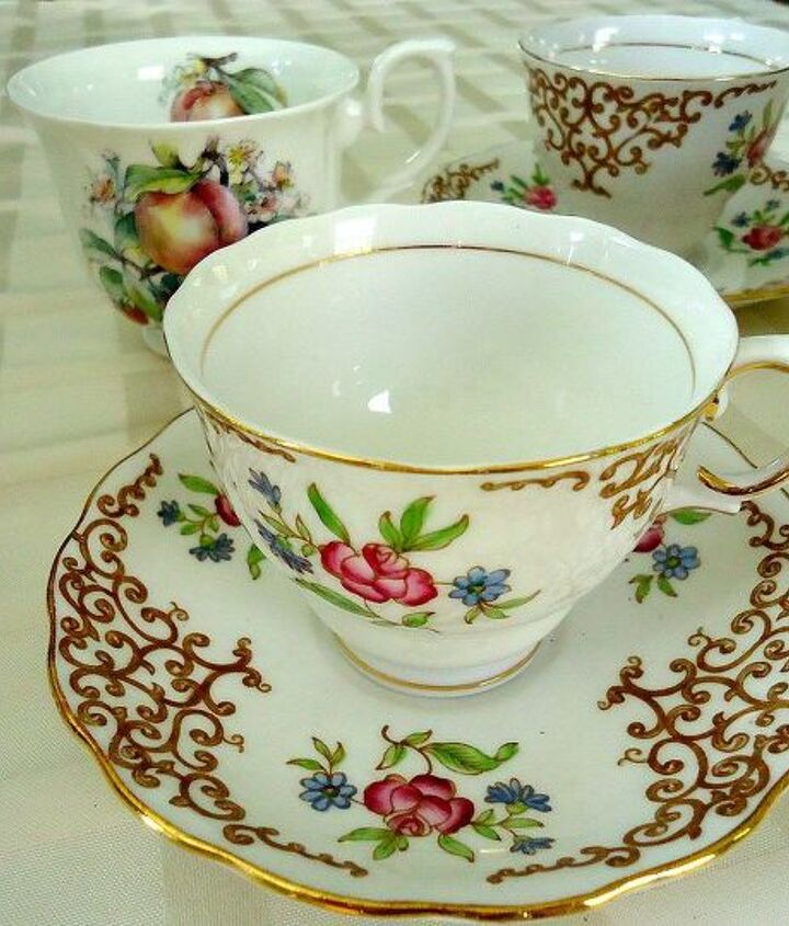 Look for bone china tea cups at your local thrift shops. Many times they are thrown away if a saucer is missing.