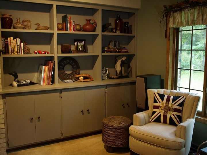 The built in bookshelves and cabinetry is painted French Linen Chalk Paint® and completely changed the look of the room.