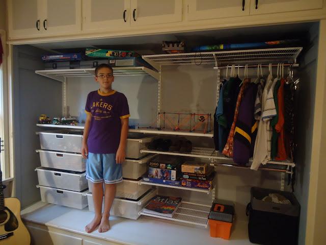 Son's organized closet