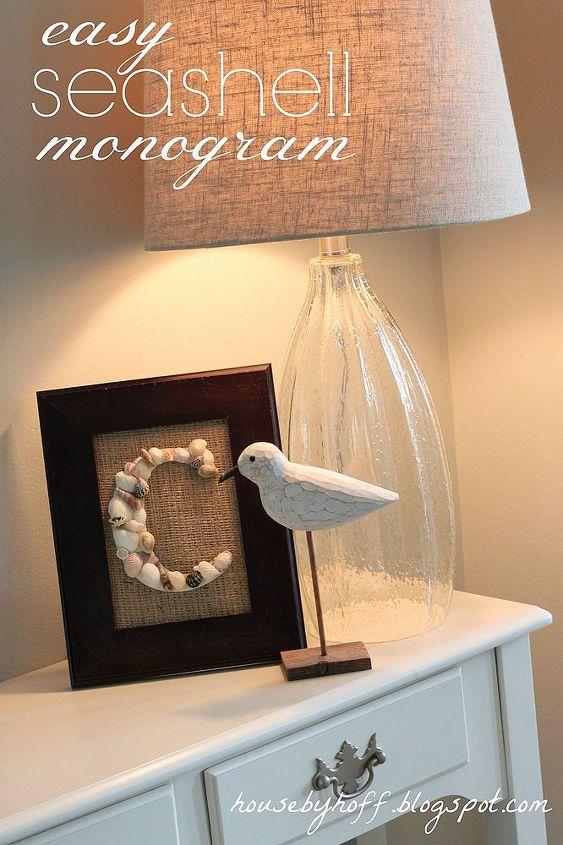 The finished seashell monogram.