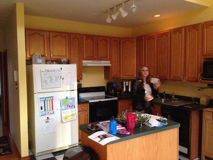 out of date country kitchen to a sleek modern family hub, home decor, kitchen backsplash, kitchen design, Before