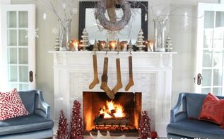 winter white christmas mantel, christmas decorations, seasonal holiday decor, White branches mercury glass and snowy mason jar candles