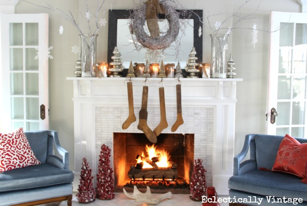 White branches, mercury glass and snowy mason jar candles  http://eclecticallyvintage.com/2012/11/winter-white-christmas-mantel/