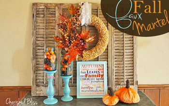 Orange and Aqua Faux Fall Mantel