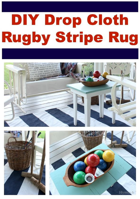 drop cloth ottoman diy drop cloth rugby stripe rug hometalk