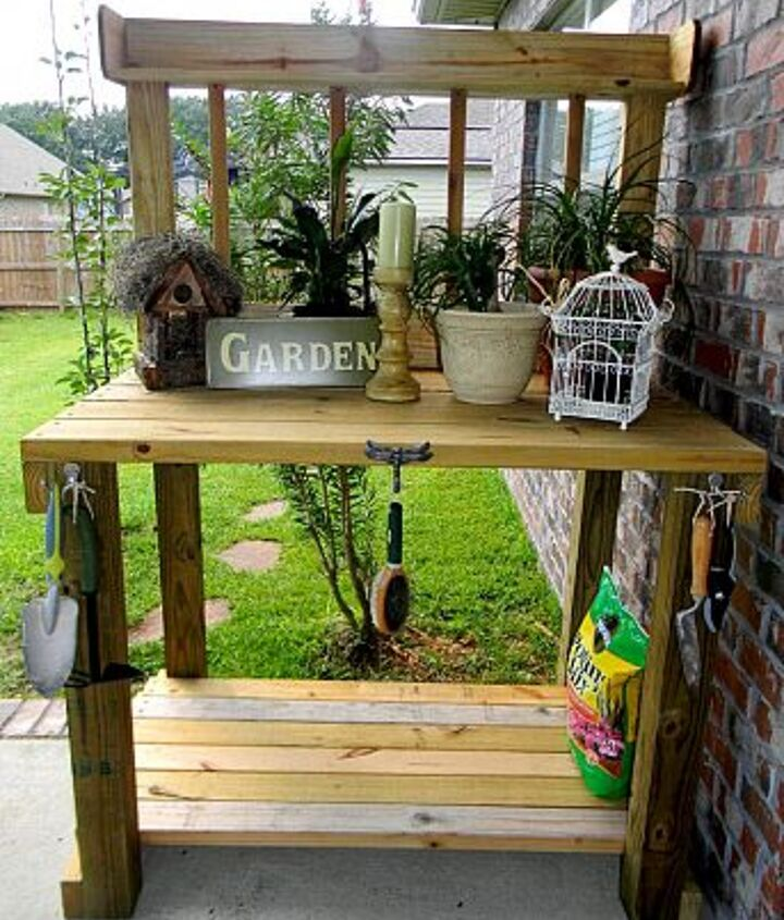 Potting bench built with leftover lumber