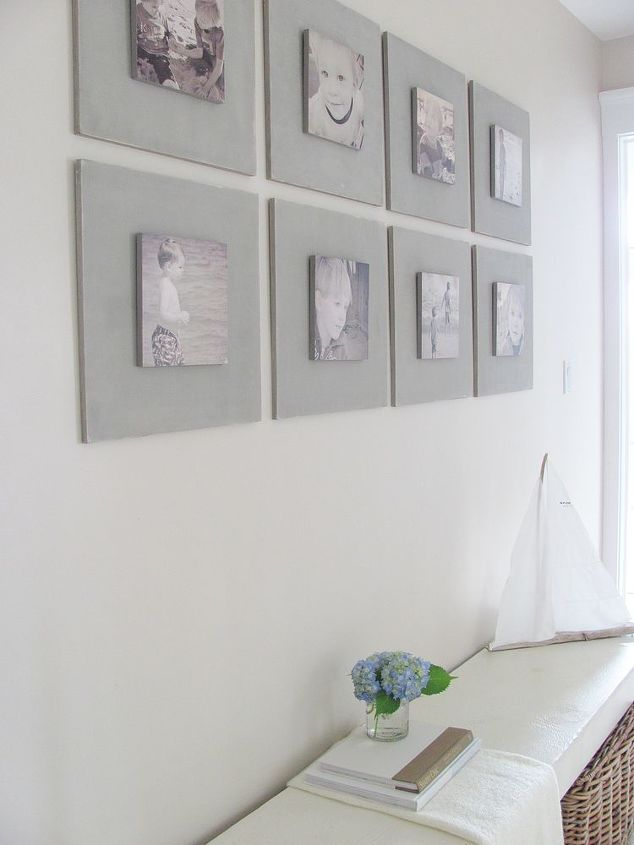 diy gallery wall tutorial, home decor, Larger squares are 16 X 16 Smaller squares with the photographs are 8 x 8