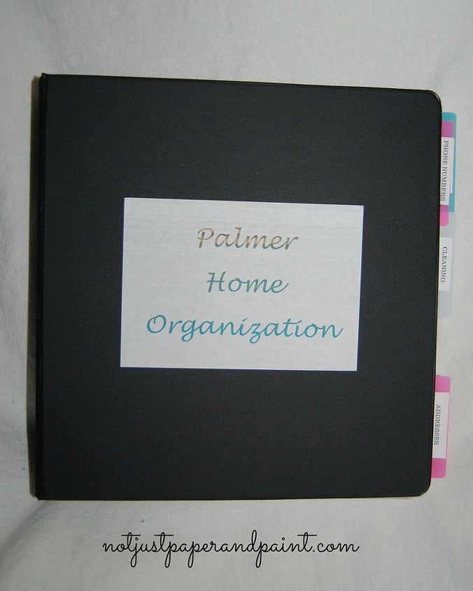 home organization notebook, organizing, Could include Cleaning Seasonal Electronics Phone Numbers Contacts Appliances Vacation Addresses