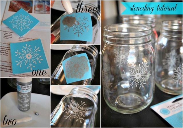 white christmas mason jar luminaries, christmas decorations, crafts, decoupage, electrical, lighting, mason jars, seasonal holiday decor, This step is totally optional but the snowflakes do add a pretty touch I used some Martha Stewart glass paint snowflake stencils to stencil my jars