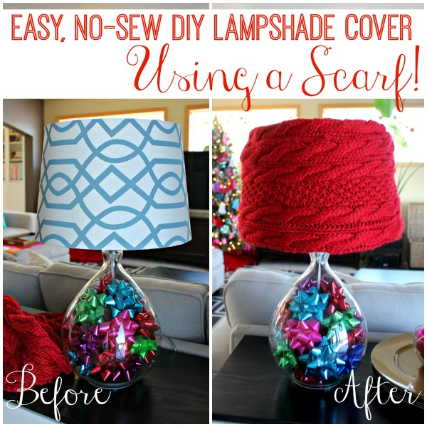 My blue & white geometric lampshades weren't working with this year's holiday decor, but the red knit looks great!