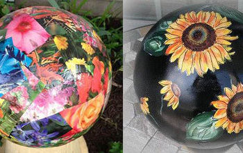 gallery of garden ball ideas, crafts, decoupage, gardening, Two decoupaged bowling balls