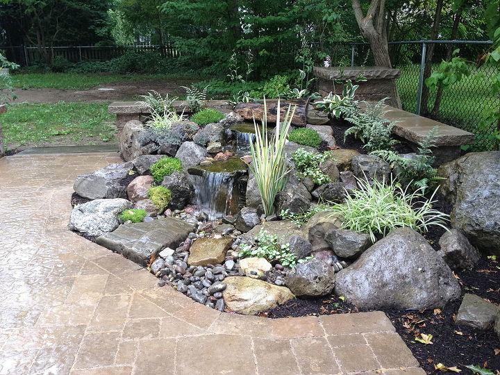 landscape garden design waterfalls water feature patio sitting