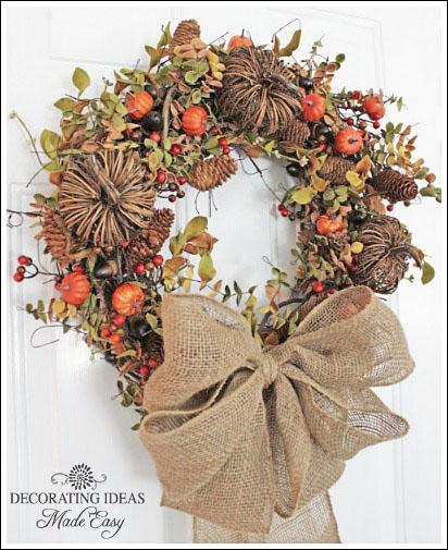 fall wreath, crafts, doors, seasonal holiday decor, wreaths, Nothing says fall like burlap pinecones and acorns