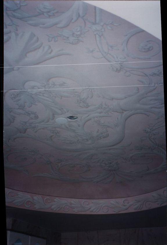 Detail of painted ceiling in ladies bathroom.