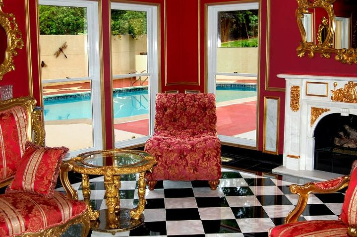 """The pool and courtyard are visible as you are sitting in the """"French Empire Salon"""" at Fontainebleau!"""