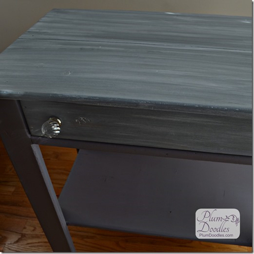 Sheila changes her mind about the drawer matching the top of the table and repaints the drawer to match the legs...I think she made the right choice.